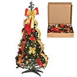 Christmas Tree Fully Decorated Pre-lit 4 Ft Pull Up Pop Up Out of Box Ready Minimal Assembly Needed Holiday Decorations w/ 100 Warm Lights with Stand