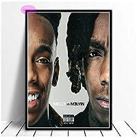 Rzhss Ynwメリーメリー対。Melvin 2019 Rap Hip Hop Music Star Album Poster Print Wall Art Canvas Picture Living Home Room Decor Print On Canvas -50X70Cm No Frame
