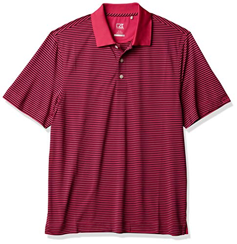 Cutter & Buck Men's Moisture Wicking, 15+ UPF Trevor Stripe Polo Shirt, Refresh/Navy, X-Large