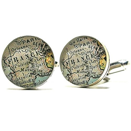 Antique Paris France Map Sterling Silver Cufflinks, Brother Gift, Boyfriend Gift, Teen Boy Gift
