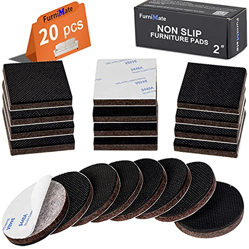 Non Slip Furniture Pads 20 Pieces 2' Anti Skid Furniture Pads Stopper Self Adhesive Square Round Rubber Pads Wood Floor Protector for Furniture Gripper on Hardwood Floor in a Case