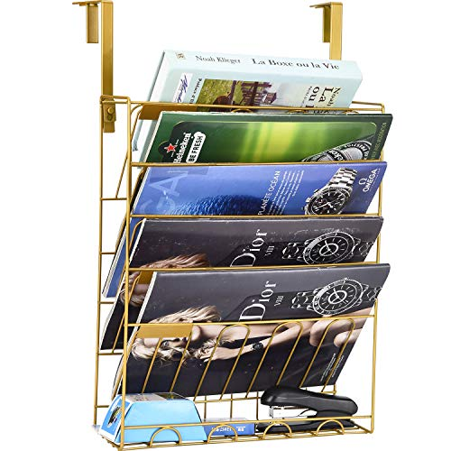 File Rack Hanging Wall File Organizer Metal Mesh Wall Magazine Rack File Wall Holder 6 Tier Wall Mount File Organizer 5 Slot Wire Metal Wall Mounted Document Holder for Office Home(Gold)