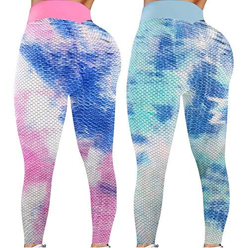 ღLILICATღ 2Pcs TIK Tok Leggings Tie-Dye para Mujeres, Leggings De Levantamiento De GlúTeos, Pantalones De Yoga para Mujeres Medias De Control De Barriga De Cintura Alta