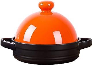 WZYJ Tagine De Cocción Media, Utensilios De Cocina De Olla Tagine Estofado Cacerola Olla De Cocción Lenta Olla De Tagine Sin Plomo para Cocinar para La Cocina Casera,Naranja
