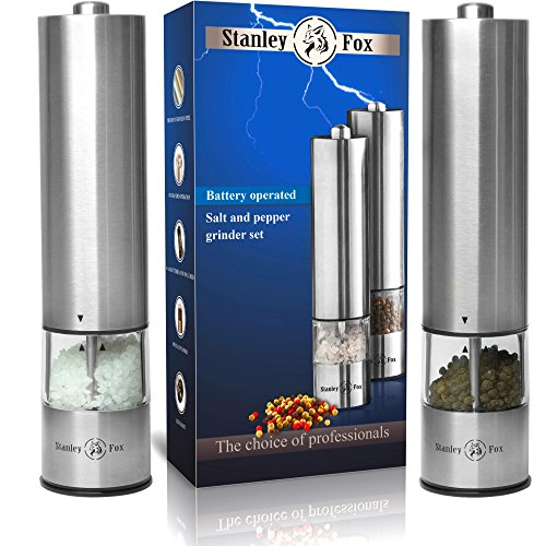 Electric salt and pepper grinder set - Salt and Pepper shakers with LED -...
