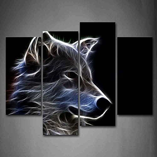 First Wall Art - Loup Tableau Toile Animaux Peinture Murale...