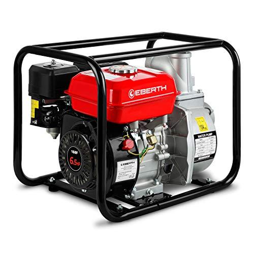 "Eberth 3"" Benzin Wasserpumpe (60.000 l/h, 6,5 PS Benzinmotor, 3 Zoll Anschluß, 30m Förderhöhe, 7m Ansaughöhe, Seilzugstart)"