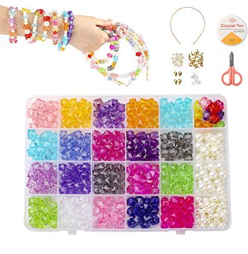 PHOGARY 24 Arten Bunte Perlen Set (500+ Stücke) Perlen zum Basteln für Kinder DIY Armband, Halsketten Schmuck Machen Set für Mädchen, Geschenk für 6, 7, 8, 9 Jahre Mädchen Spielzeug