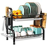 2 Tier Dish Rack and Drainboard Set, Romision 304 Stainless Steel Dish Drying Rack with Drainboard, Compact Dish Drainer for Kitchen Counter with Utensil Holder and Cutting Board Holder(Black)