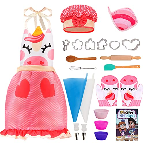 JOYIN 23 Pcs Unicorn Kids Baking Sets for Girls with Apron, Oven Mitt, Chef Hat, Baking Utensils, Cookie Cutters, Cooking Book and More, Kids Chef Dress Up and Cooking Accessories