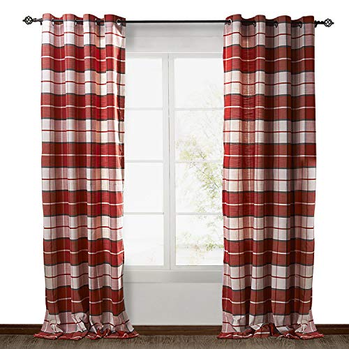 ChadMade Check Plaid Cotton Nickel Grommet Eyelet Blackout Lined Window Curtain Panel Drapes (1 Panel) Red 84Wx84L Inch