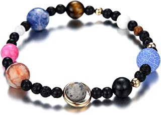 JESMING New DIY Weave Bracelet Galaxy Solar System Eight Planets on Natural Stone Beads