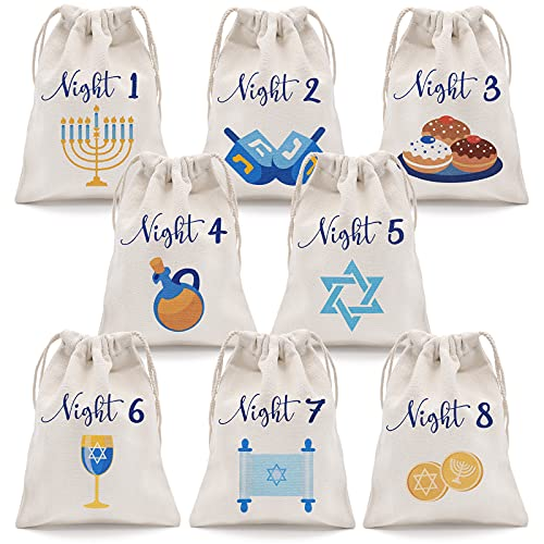 8 Nights of Hanukkah Drawstring Bags Chanukah Gift Bags Hanukkah Countdown Calendar Hanukkah Linen Treat Goodie Bags for Kids Festival of Lights Party Favor Set of 8