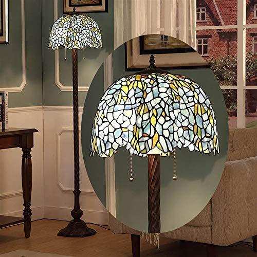 ACwhisper Lámpara de pie retro rural wisteria europeo sala de estar estudio dormitorio creativo arte Tiffany cristal vertical lámpara de pie
