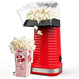 Hot Air Popcorn Maker, 1200W Popcorn Popper with Measuring Cup, No Oil Needed, Great for Watching Movies and Holding Parties in Home, Red