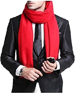 Howely Men Solid With Fringe Feel Winter Thick Shawl Scarves Cashmere Scarf