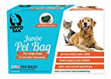 Hippo Sak Extra Large Pet Poop Bags with Dispenser, 200 Count, for Large Dogs and Cat Litter Scooping (200)