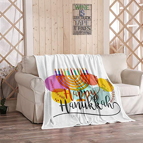 MOOTFAY Happy Hanukkah Throw Blanket, Hanukkah Candle Colorful Festival Hashana Hebrew Israel Flannel Lightweight Cozy Soft Plush Blanket for Bed/Couch/Sofa/Office/Camping, 40 x 50 Inches