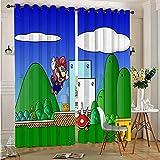 DONEECKL Cortinas opacas para dormitorio, diseño de Super Mario Bros