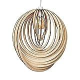 MiniSun - Pantalla para lámpara de techo 'Lenko' nórdica - Moderna con toque vintage - De madera con forma de espiral 3D