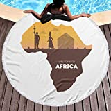 fenrris65 Welcome To Africa Banner Template African Map Microfiber Summer Round Large Beach Towel for Yoga Mat Tassel Toalla Blanket,Bath Towel Tapestry (150X150CM)