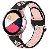 Vobafe Correa Compatible con Samsung Galaxy Watch Active/Active2 Correa 40mm/44mm, Correa Deportiva Reemplazo de Silicona Suave para Galaxy Watch 3 41mm/Gear S2 Classic/Sport, L Negro/Rosa