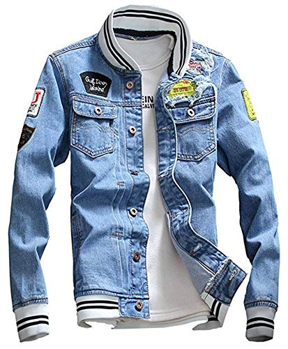 LifeHe Men Denim Jacket With Patches Light Blue 3XL (M, Light Blue)