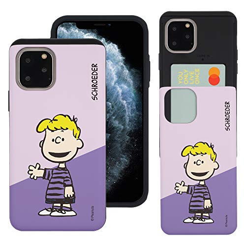 """iPhone 11 ケース と互換性があります Peanuts Schroeder ピーナッツ シュローダー カード スロット ダブル バンパー スマホ ケース 【 アイフォン 11 ケース (6.1"""") 】 (対角線 シュローダー) [並行輸入"""