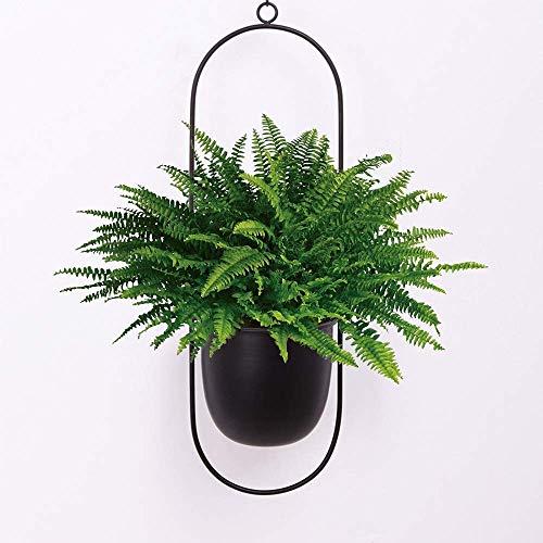 KJSMA Schwarzer Metall-Blumentopf zum Aufhängen an der Wand und an der Decke hängender Übertopf, Mitteljahr, minimalistischer Übertopf für Innen- und Außenbereich, Heimdekoration (oval)
