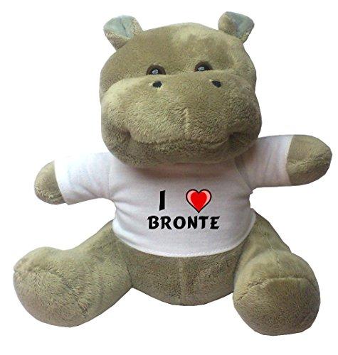 Nilpferd Plüschtier mit Ich liebe Bronte T-Shirt (Vorname/Zuname/Spitzname)