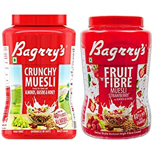 Bagrry's Crunchy Muesli Oat Clusters with Almonds, Raisins & Honey, 1000 GM + Bagrry's Fruit n Fibre Muesli, Strawberry… 9 51i 4MHNvdL. SS300