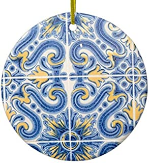 SheilaNelly Blue and Yellow Tile, Portugal Christmas Ornament Ceramic Circle 3 inch