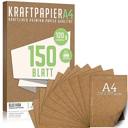 150 Blatt Kraftpapier A4 Set - 120 g - 21 x 29,7 cm - DIN Format - Bastelpapier & Naturkarton Pappe Blätter aus Kraftkarton zum Drucken, Kartonpapier Basteln für Vintage Hochzeit Geschenke Etiketten
