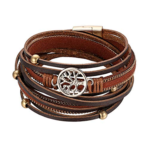Cupimatch Bracelet Arbre de Vie Multicouche Style Bohémien avec Boucle Magnétique,Bracelet Manchette Tressé en Cuir pour Femme et Fille - Quatre Styles(Brun)