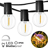 Newpow Outdoor String Lights 100ft with 50+2 Spare Dimmable Shatterproof Waterproof LED G40 Globe Bulbs - Clear Plastic, 1W 60LM 2200K Warm Glow for Indoor/Outdoor Decoration and Lighting