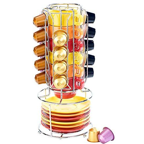 Bakaji Portacapsule in Acciaio per Nespresso Capienza 25 capsule Stand porta capsule di caffè on 6 Tazzine e 6 Piattini in Porcellana