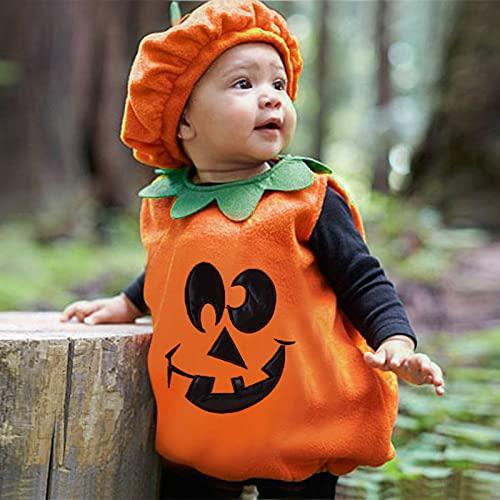 Halloween Outfit Baby Kürbis Cosplay Kostüm Orange Ärmellose Weste Top + Hut Zweiteilige Halloween Karikatur Kinder Costume Für Kleinkind Baby Mädchen Kinder Jungen Outfits Anzug
