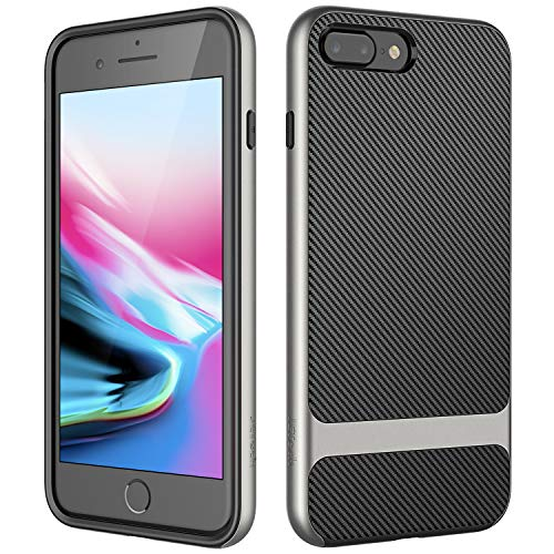 JETech Funda Compatible iPhone 8 Plus y iPhone 7 Plus, Carcasa de Diseño de Fibra de Carbono, Gris