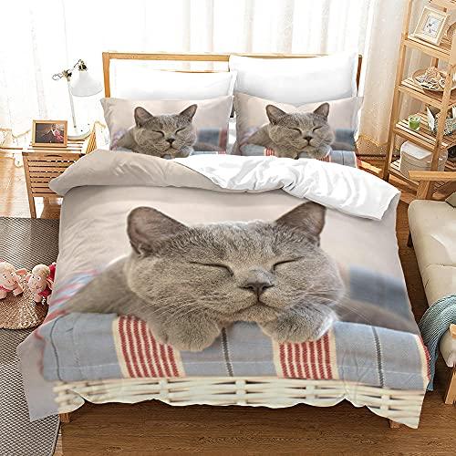 Bedclothes-Blanket Funda nórdica Funda de Colcha,SANDET Tres PISTO 3D TRIMENSIÓN TRIMENSIÓN TRIMENDIENDO Ropa de Cama de Gatito-dieciséis_210 * 210