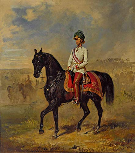 Berkin Arts Franz Adam Giclee Auf Leinwand drucken-Berühmte Gemälde Kunst Poster-Reproduktion Wand Dekoration(Kaiser Franz Joseph von Österreich zu Pferd) #XFB