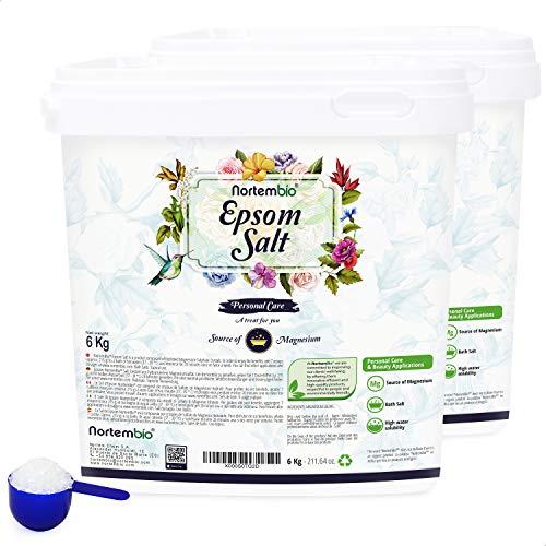 Nortembio Sal de Epsom 2x6 Kg. Fuente concentrada de Magnesio, Sales 100% Puras. Baño y Cuidado Personal. E-Book Incluido.
