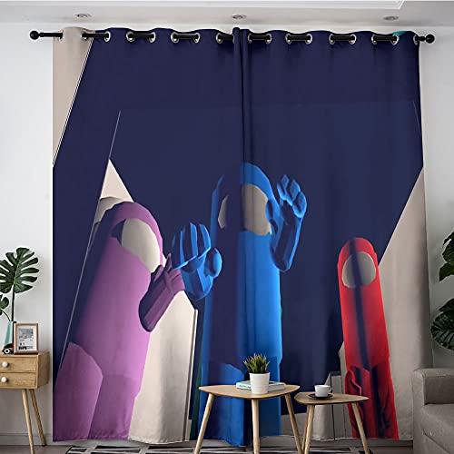Cortina opaca para oscurecimiento de habitación, impostor entre nosotros, calor y luz completa, cortinas de bloqueo para adultos y niños, dormitorio, sala de estar, 55 x 45 cm