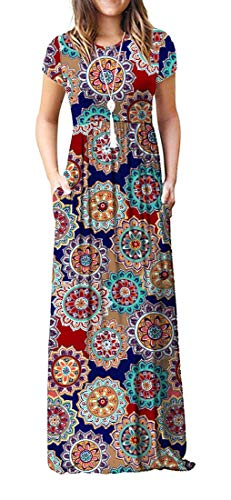VIISHOW Women's Short Sleeve Floral Print Scoop Neck Loose Plain Maxi Dresses Casual Long Dresses with Pockets(Round Floral Navy Blue L)