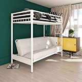 DHP Miles Metal Bunk Bed, White, Twin over Futon