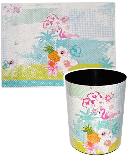 alles-meine.de GmbH 2 TLG. Set _ Schreibtischunterlage & Papierkorb -  Flamingo & Hibiskus Blume - Hawaii  - Schreibtischset - aus Kunststoff - Mülleimer / Eimer - Tischunterla..