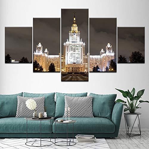 Zaosan Moskauer Staatsuniversität Leinwand Ölgemälde 5 Stück Wandbild Wandbild modulare Tapete Poster Wohnzimmer Druck Wohnkultur