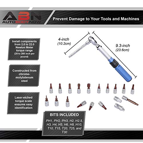 ABN 1/4IN Drive Click Torque Wrench Set, 23Pc - 2-22Nm Dual Direction 20-200 Inch Pound Torque Wrench and Bit Tool Set