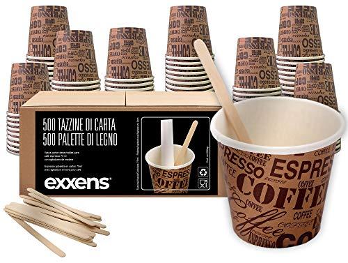 exxens 500 Pz Bicchieri Caffe di Carta Biodegradabili Biocompostabili Tazzine 75ml + 500 Pz Palettine Legno Betulla…