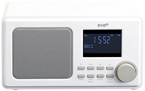 Lenco Digitalradio DAR-010/DAR-015 mit DAB+ und UKW Tuner/DAB+UKW Tuner und Bluetooth(Senderspeicher 2 Weckzeiten Holzgehäuse Kopfhörer-Anschluss), weiß