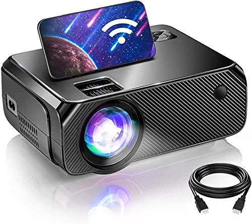 BOMAKER Proyector WiFi Portátil, Proyector Inalámbrico Nativo 1280x720P para Juegos, Cine y Exteriores, Mini Proyector con Pantalla de 300'', Compatible con iOS, Android, Laptop, PS5, Win10, TV Stick